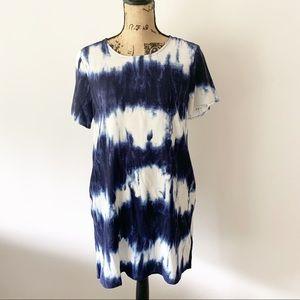 LuLu's Tie Dye Blue/White Short Sleeve Dress Sz S